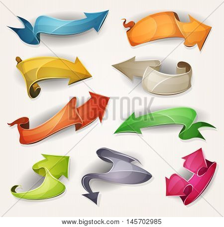Illustration of a set of various cartoon funny fresh colorful circus arrows banners ribbons swirls awards and parchment scrolls designed for advertisement or ui game
