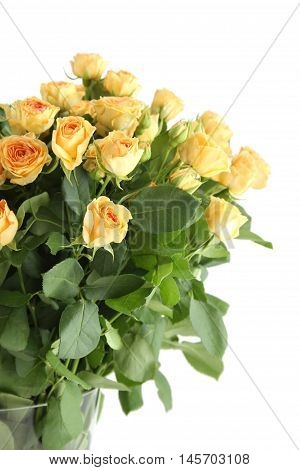 Close-up of a beautiful bouquet of yellow roses. Isolated