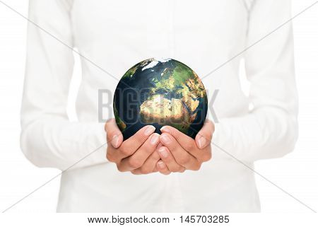 Environment conservation close up of female hands holding planet earth. Elements of this image furnished by N.A.S.A