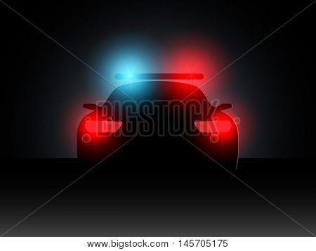 Police car in the dark with the included headlights. Vector illustration.