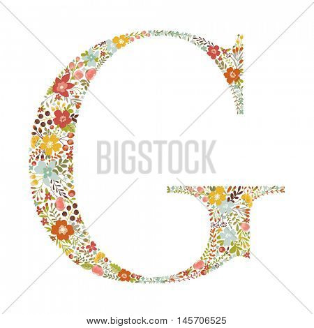G letter with decorative floral ornament