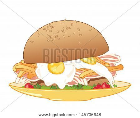 an illustration of a breakfast meal in a big sesame seed bread bun with fried eggs bacon fries and salad on a yellow plate and white background