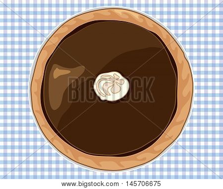 an illustration of a dark chocolate tart with pastry casing on a blue gingham tablecloth
