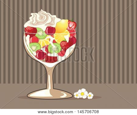 an illustration of a fancy glass with fresh fruit salad and cream on a chocolate stripe background