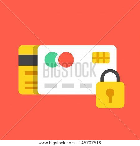 Credit cards and lock icon. Payment protection, secure transaction, anti fraud concepts. Modern flat design vector illustration
