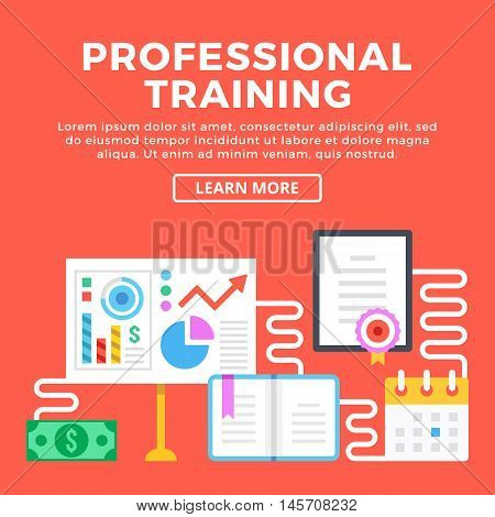 Professional training, career enhancement. Modern concepts, graphic elements and flat icons set for web banners, web design, printed materials, infographics. Flat design vector illustration