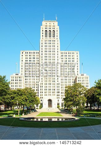 Albany New York USA. September 4 2015. View of the Alfred E. Smith Building from the steps of the New York State Capitol