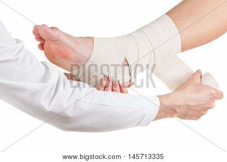 Flexible elastic supportive orthopedic bandage isolated on white background compression stabilizer ankle. poster