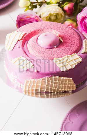 French vanilla cake wtih srawberry compote, pistachio mousse and crunchy layer