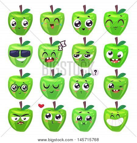 Green Apple set of funny smiles. Fruit and food collection. Vector cartoon illustration. Cute stylish characters.