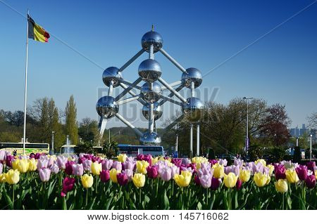 Brussels, Belgium - April 2016: The Atomium, A Building In Brussels Originally Constructed For Expo
