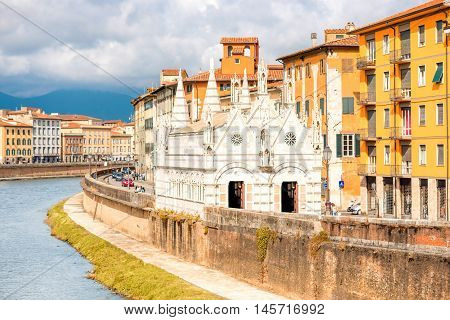 Santa Maria Della Spina church on the riverside in Pisa town in Italy