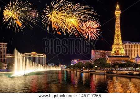 Fireworks and fountains show on Independence Day on July 4, 2016 in Las Vegas. The Paris hotel, Bellagio Fountains and a replica of the Eiffel Tower.