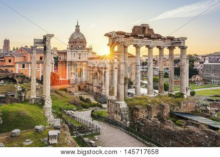 Famous Roman Forum in Rome Italy during sunrise.
