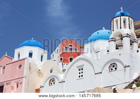 Santorini - view of caldera with domes