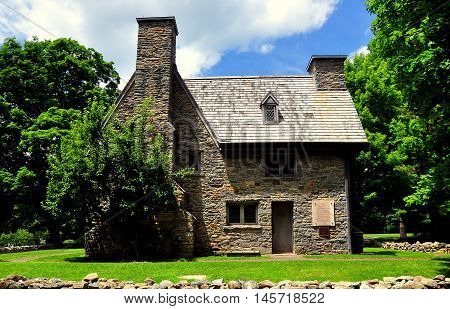 Guilford Connecticut: - July 10 2015: Historic stone 1639 Rev. Henry Whitfield House and Museum *