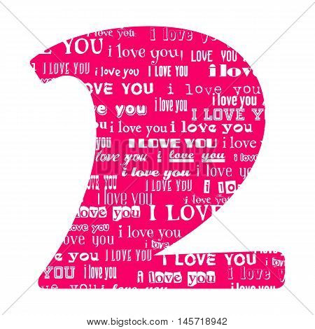 Romantic decorative vector pink number filled white words I love you.