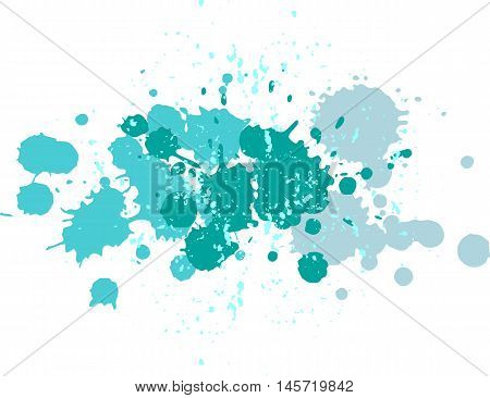 Background with blots and splashes of paint.  Vector blots and vector  splashes. Blue blobs