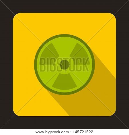 Green radioactive sign icon in flat style on a yellow background vector illustration