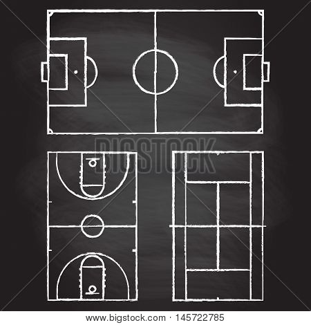 Football or soccer, tennis and basketball fields isolated on blackboard texture with chalk rubbed background. Realistic blackboard for tactic plan. Vector illustration.