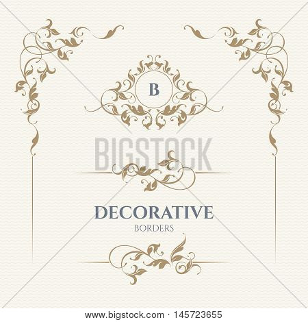 Decorative vector monogram and border for cards, invitations, menus, labels. Graphic design pages, business sign, boutiques, cafes, hotels. Classic design elements for wedding invitations.