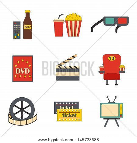 Vector illustration with cartoon objects on cinema time theme. Vector objects: popcorn soda pizza 3d glasses beer cinema chair. Cartoon concept for cinema time or movie design. Vector icons