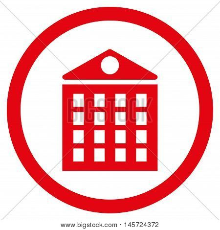 Multi-Storey House rounded icon. Vector illustration style is flat iconic symbol, red color, white background.