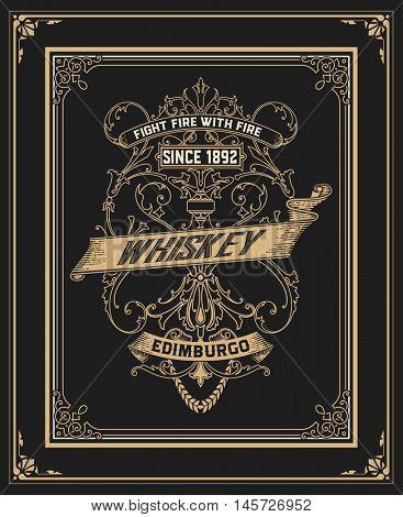 Vintage design for labels, emblem, banner, logo, sticker. Suitable for whiskey or other commercial products
