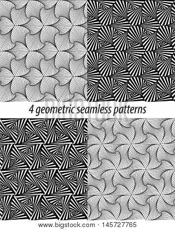 Set of 4 vector zentangle patterns. Black and white zentangle backgrounds. Paradox zentangle patterns. Each pattern is on swatches panel