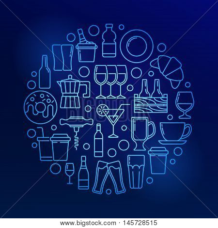 Cafe and bar colorful illustration. Vector circular outline blue symbol made with food, drinks and beverages icons