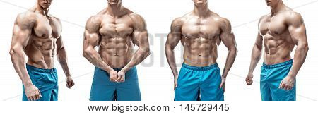 Strong Athletic Man showing muscular body and sixpack abs isolated on white background. collage of four photo