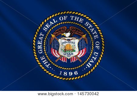 Flag of Utah is a state in United States. 3D illustration
