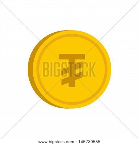 Gold coin with mongolian tugrik sign icon in flat style on a white background vector illustration