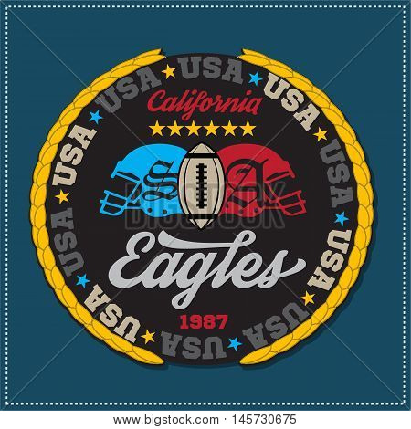 Athletic champions college varcity Eagles football logo emblem. Vector Graphics and typography t-shirt design for apparel. Isolated very easy to use.