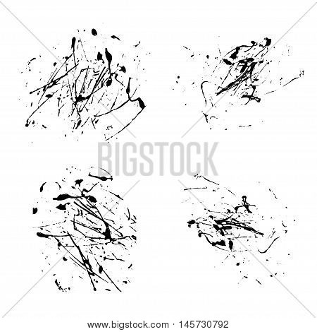 Vector splatter paint abstract on white background set hand drawing design art stain splash ink black color grunge texture spray pattern