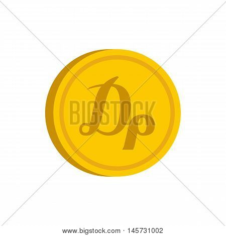 Gold coin with drachma sign icon in flat style on a white background vector illustration