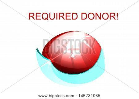 illustration of red blood cells half-filled with blood and the words a donor
