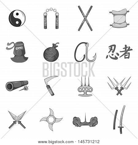 Ninja icons set in black monochrome style. Japanese weapons set collection vector illustration