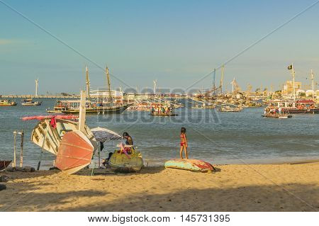 FORTALEZA, BRAZIL, DECEMBER - 2015 - Group of commercial and touristic boats at waters of atlantic ocean in the beach of Fortaleza Brazil