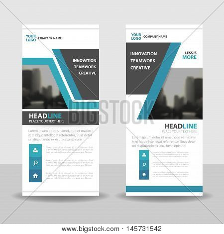 Blue black roll up business brochure flyer banner design cover presentation abstract geometric background modern publication x-banner and flag-banner layout in rectangle size.