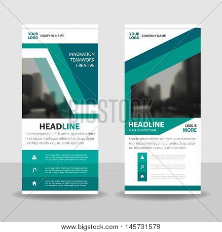 Green roll up business brochure flyer banner design cover presentation abstract geometric background modern publication x-banner and flag-banner layout in rectangle size.