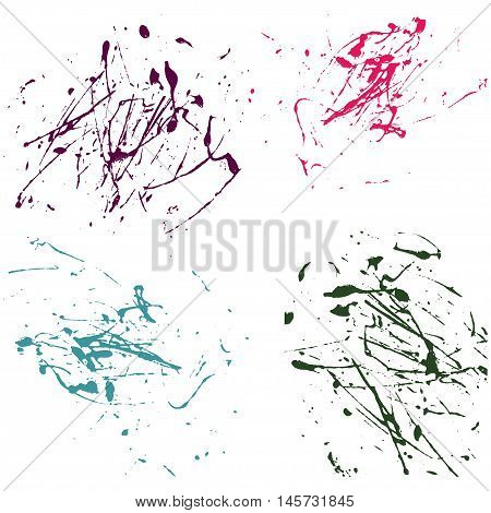Vector splatter paint abstract on white background set hand drawing design art stain splash ink pink cyan green colors grunge texture spray pattern