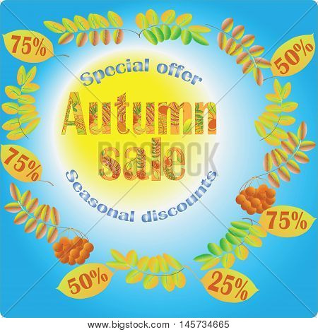 The autumn sale. Special offer. Seasonal discounts. The banner on the blue background.