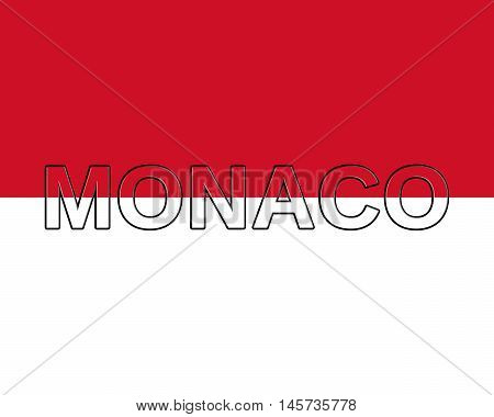 Illustration of the national flag of Monaco with the country written on the flag