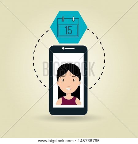 cellphone woman tools apps vector illustration eps 10
