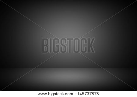 Abstract black empty room studio gradient used for background and display your product