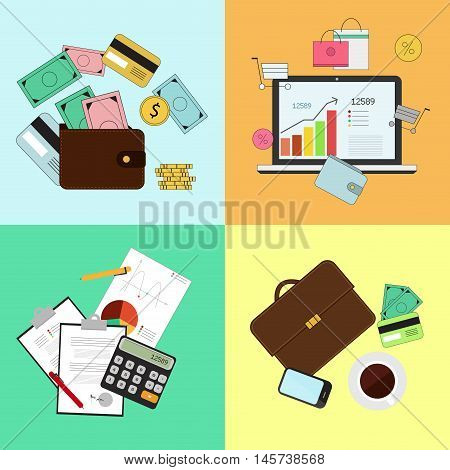 Investing and Personal Finance Credit and Budgeting. Cashflow management and financial planning. Vector illustration.