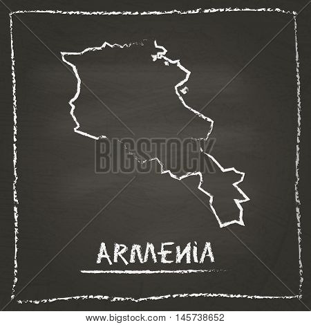 Armenia Outline Vector Map Hand Drawn With Chalk On A Blackboard. Chalkboard Scribble In Childish St