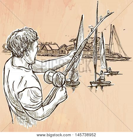 FISHING. An fisherman catch fish on the sea shore. Freehand sketching line drawing. An hand drawn vector illustration. Colored background is isolated. Line art technique. Vector is easy editable.
