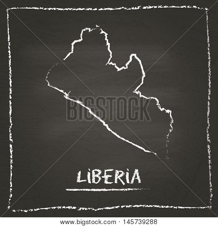 Liberia Outline Vector Map Hand Drawn With Chalk On A Blackboard. Chalkboard Scribble In Childish St